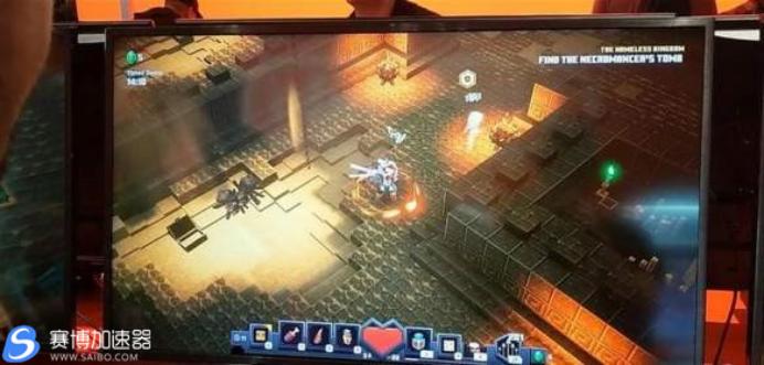 《我的世界:地下城》手游加速器演示 新模式武器试玩